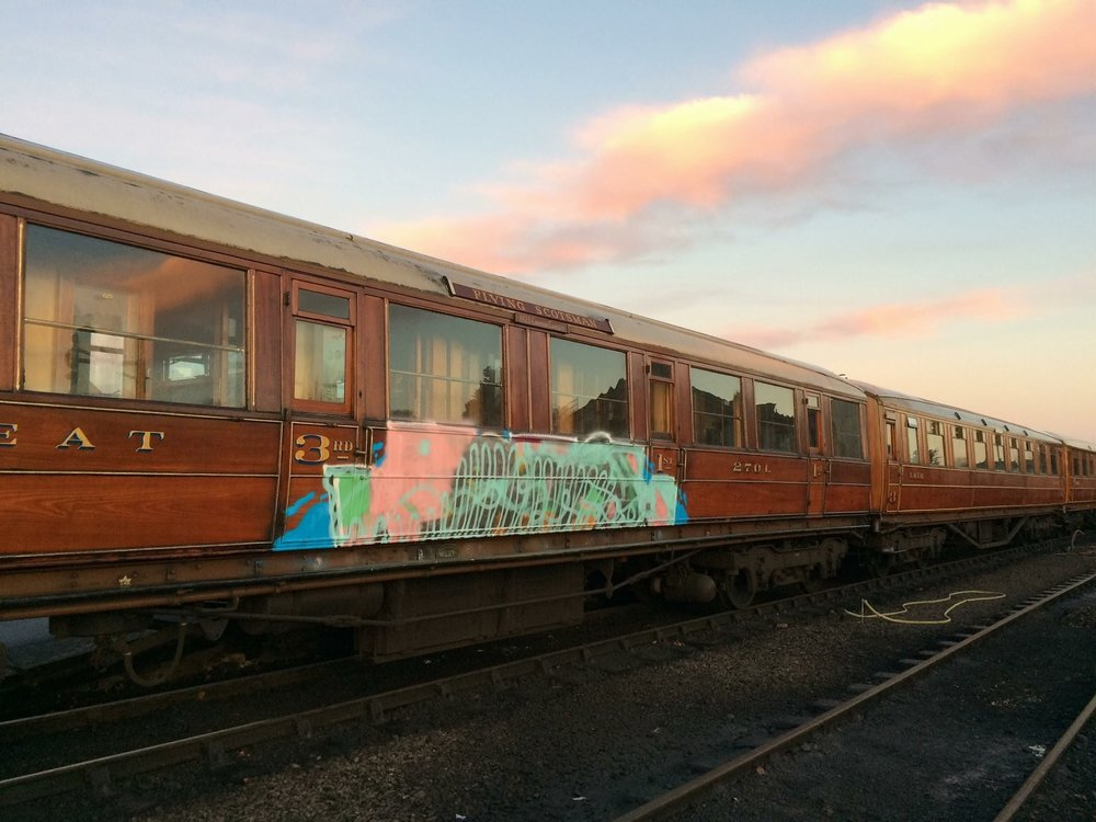 One of the graffitied carriages which was vandalised over Christmas – ex-GNR teak composite corridor No. 2701. SVR