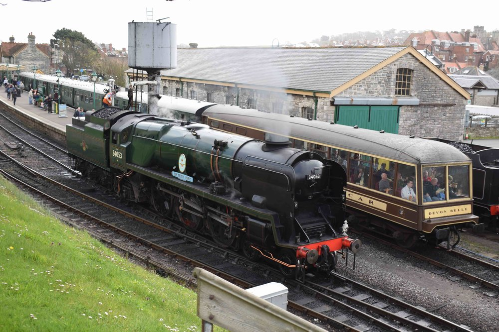 At its last appearance at a Swanage Railway gala, 'Battle of Britain' No. 34053  Sir Keith Park  runs round at Swanage during the railway's 'Strictly Bulleid' event on April 1 2017. THOMAS BRIGHT/SR