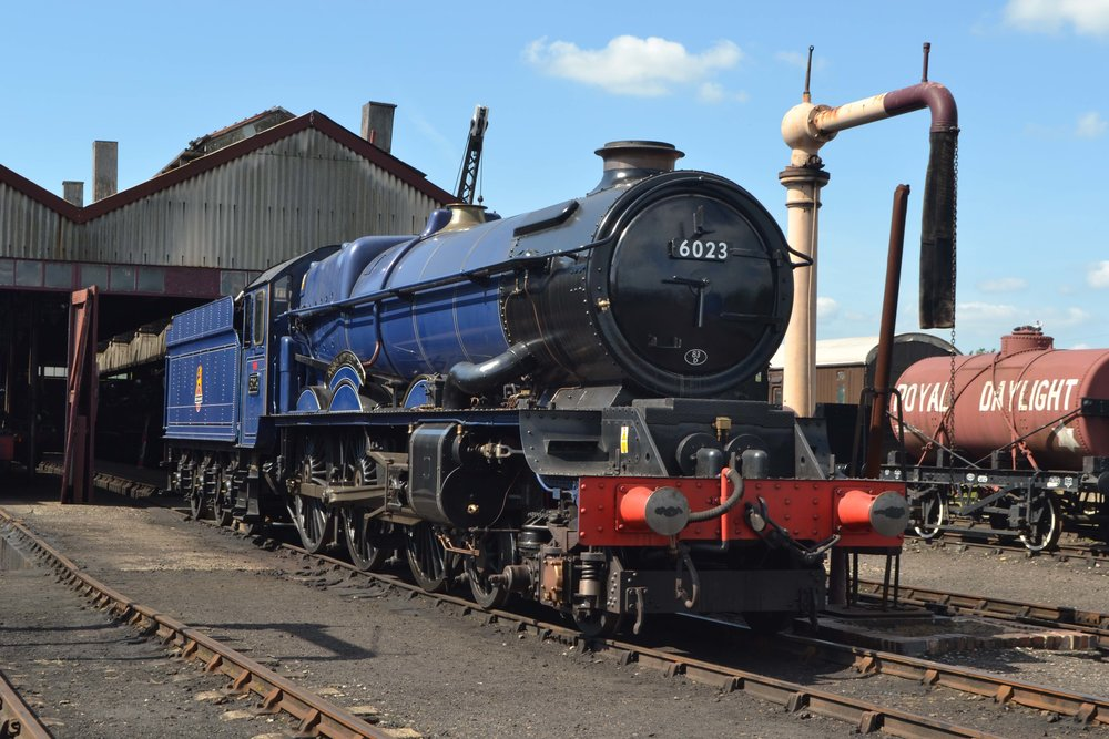 Destined for the Severn Valley Railway 'Spring Steam Gala' in March, 'King' No. 6023  King Edward II  basks in the sun outside Didcot Railway Centre on June 17 2017. TOBY JENNINGS/SR