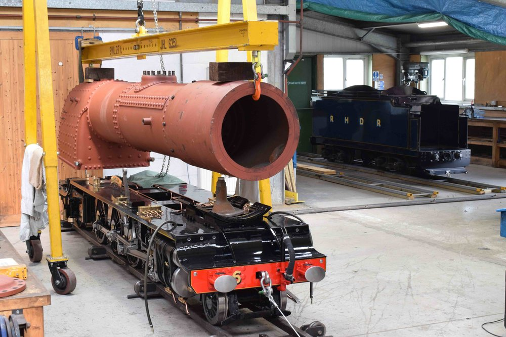 Set for relaunch into traffic in April, RHDR No. 6  Samson 's boiler is ready to be returned to the frames inside the works at New Romney on June 12 2017. THOMAS BRIGHT/SR