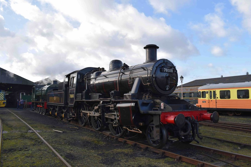 Destined for the North Norfolk Railway's 'Spring Steam Gala' next month, '2MT' No. 78018 rests in the yard at Wansford on the Nene Valley Railway on January 11 2017. THOMAS BRIGHT/SR