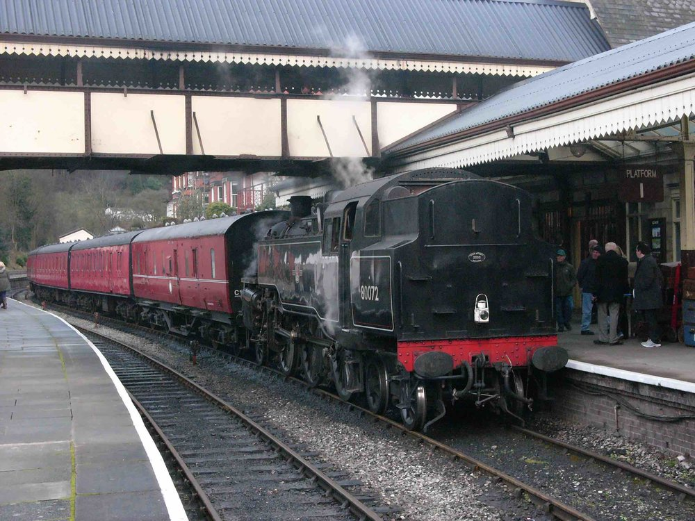 The latest BR '4MT' 2-6-4T to be confirmed for the North Norfolk Railway's 'Spring Steam Gala' on April 20-22, No. 80072 pulls into Llangollen on March 4 2017, during the railway's 'Along Birkenhead Lines' gala. TOBY JENNINGS/SR