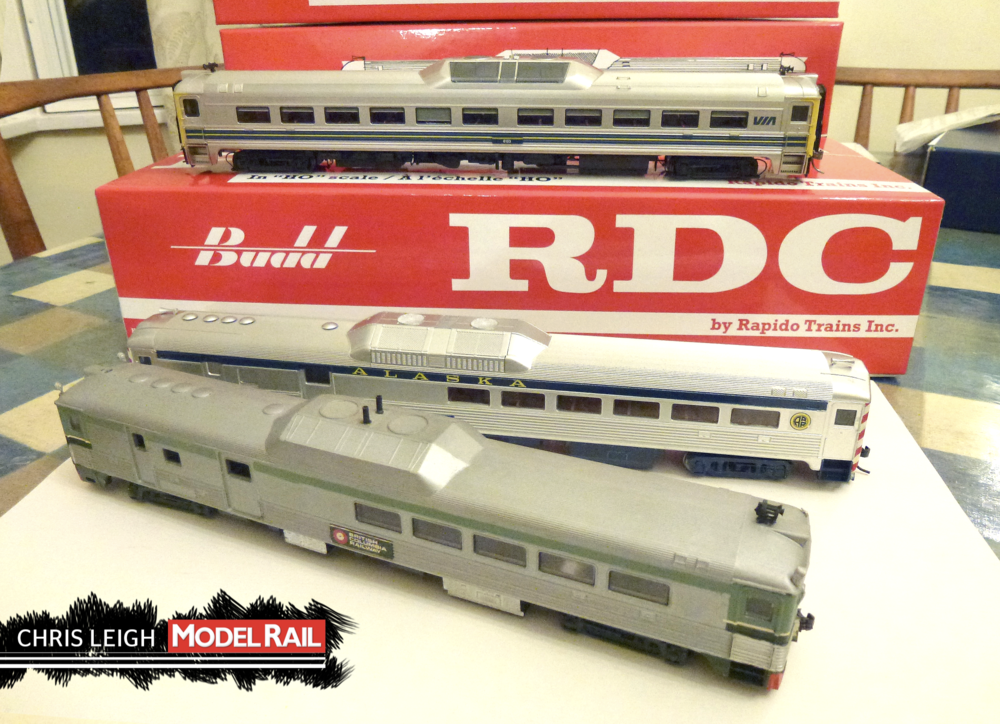 The three generations of RDC models Rapido (top), Walther's (middle), and repainted Athearn (bottom). CHRIS LEIGH