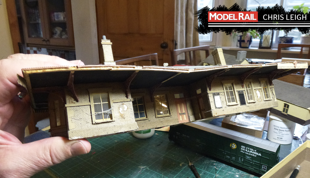 The oldest surviving station model that I have is this one, based on either Heyford or Aynho, I can't now remember. It has suffered badly over the years. The 12in:1ft cobweb on the window is genuine! CHRIS LEIGH