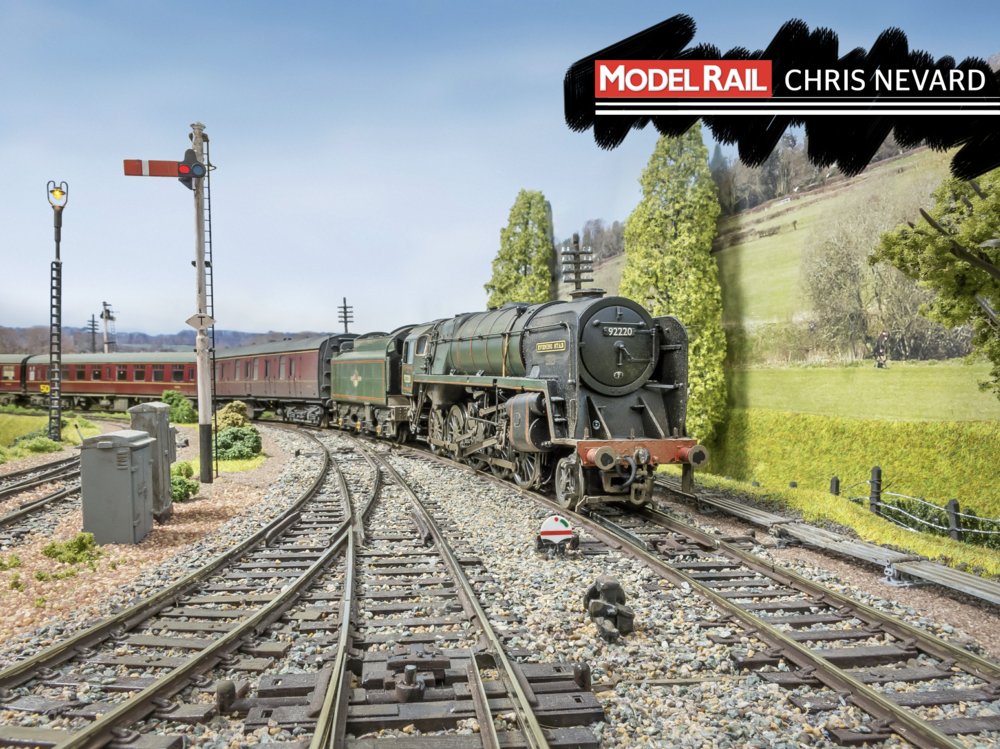 The photographic backscene is a panoramic photograph taken from Shillingstone's actual signal box. CHRIS NEVARD.