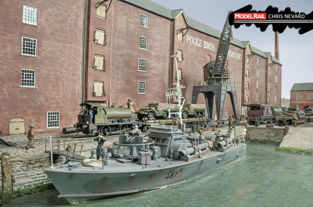 The layout was built around James' Airfix Motor Torpedo Boat. A wartime dockside made the perfect setting. CHRIS NEVARD