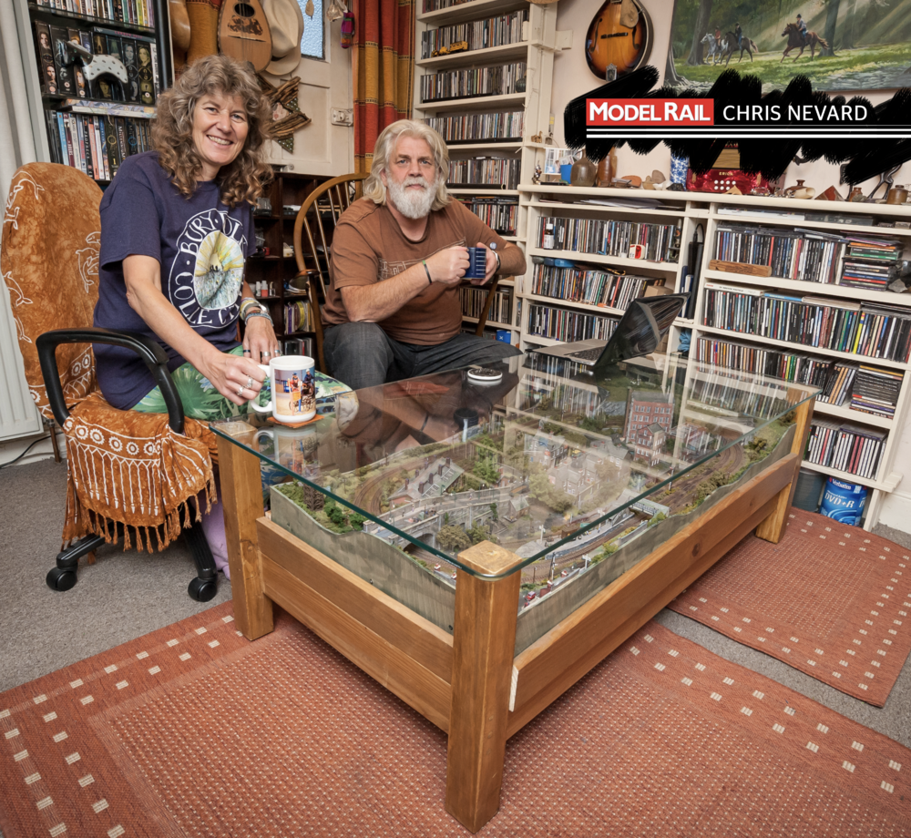 Ray and Anna's coffee table houses an 'N' gauge layout! CHRIS NEVARD