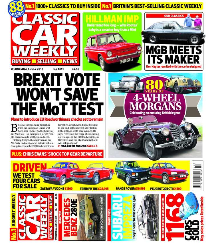 IN THIS WEEK\'S ISSUE - 6 JULY 2016 — Classic Car Weekly