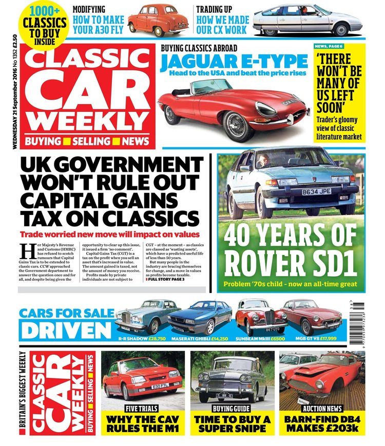 IN THIS WEEK\'S ISSUE - 21 SEPTEMBER 2016 — Classic Car Weekly