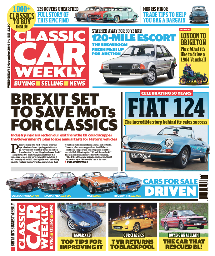 IN THIS WEEK\'S ISSUE - 2 November 2016 — Classic Car Weekly
