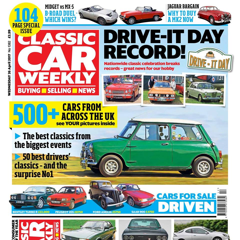 Don't miss our 104-page Drive It Day special issue of Classic Car Weekly, out first thing tomorrow! Here's what to look forward to: More than 500 classic cars in pictures, from Drive-It Day events across the UK. Can you spot your pride and joy in our special report? The 50 Best Driver's Classics of All Time - after a lot of arguing (and several gallons of coffee) we've ranked the most enjoyable cars to drive - don't miss out on seeing where your favourite car comes in our countdown! Our Classics special: MG Midget vs Mazda MX-5. Our expert owners decide which is the most fun to drive. Why the Jaguar Mk2 is such a tempting classic buy at the moment Our £500 Ford Puma goes in search of Wales' best driving road - with just one tank of fuel to do it. How far does it get? Top tips if you're thinking of buying a Jensen Interceptor - and the pitfalls to avoid Give your Cortina MkIV/80 a 2017 makeover - keep the style, improve the go with our handy guide The Way We Were: Find out where the first non-German VW Beetle was bolted together PLUS the latest classic car news, auction updates, four more cars for sale and hundreds of cars in our classifieds - make sure you gr