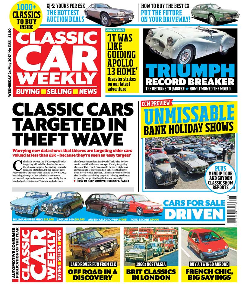 Our latest issue is out in the shops first thing tomorrow. Here's what to watch out for in your weekly classic fix:  Why car thieves are changing tactics and targeting cheaper classic cars - and how to protect your pride and joy  The story behind Triumph's speed record TR2 - pictures from the car's return to the Jabbeke highway, and how Britain's manufacturers wowed the world in the 1950s with their high speed tests  Don't miss out on the Bank Holiday fun! Our guide to the best shows and events across Britain this weekend  Tempted by a Citroën CX? We show you how to find the best example for your money  Off-road in the original Land Rover Discovery - and why it's such a great all-rounder  1960s nostalgia with Nick Larkin - Triumphs and Austins galore in The Way We Were  The best pictures from the Mendip Tour and the Gaydon Spring Classic  PLUS the latest classic news, auction updates, four more classics for sale tested, hundreds of the latest classified ads... and a not-entirely-successful outing in a Rover 800. Make sure you pick up your copy!