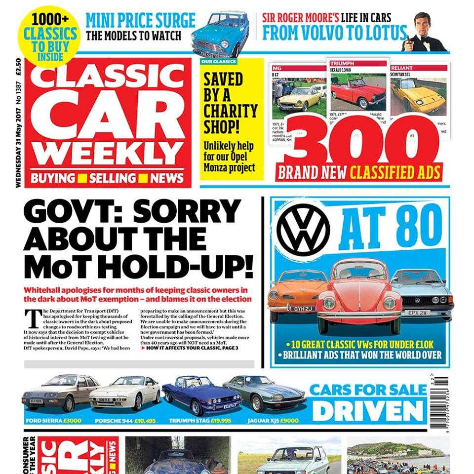 Why the Government has apologised to classic car fans We mark 80 years of VW with ten of its greatest classics for under £10k, plus a look back at how its brilliant adverts won over a generation of car fans Richy Barnett's expert tips on which Mini models are shaking up the classic market Sir Roger Moore's life in cars - we pay tribute to an on-screen legend, and the classics he drove The latest events - how Porsche fans invaded a Welsh seaside resort, plus the greatest breakfast meet you've never heard of Clever (and wallet-friendly) ways to make the Metro better than ever Our Classics - how a charity shop has boosted our Opel Monza resto, and the latest on our Alfa 145 and Rover BRM PLUS the latest classic news, auction updates, four more classics tested (including a very tempting Ford Sierra), and the latest classified ads. Make sure you pick up your copy...