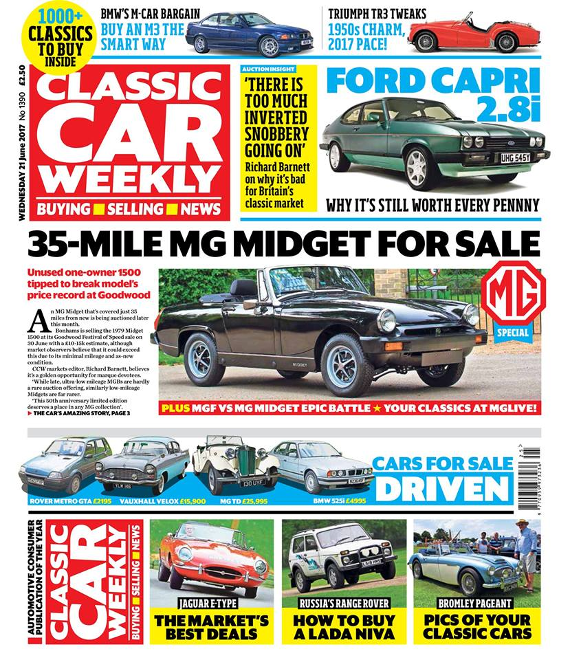 MG SPECIAL: All the best cars from MGLive!, MGF takes on Midget in the battle for affordable sports car supremacy - and the unregistered, 35-mile Midget that you can buy  Ford Capri 2.8i driven - why this V6 charmer is still worth every penny  BMW M3 buying guide - top tips on buying the E36-generation model, and why now's the time to go for one  Pics of your classics from the Bromley Pageant and TriumFest  Top tips for tweaking Triumph's TR2-3A - and which mods won't spoil its 1950s charm  The classic market's best Jaguar E-type deals  Our Classics - the latest on our MGB GT, Saab 900 Turbo and Volkswagen T2 camper  Looking for a classic off-roader that ISN'T a Land Rover? We show you where to find the best Lada Niva for your money  PLUS the latest classic news, auction updates, four more classics for sale test-driven and more than 1000 classics to buy - make sure you don't miss out on the latest issue!