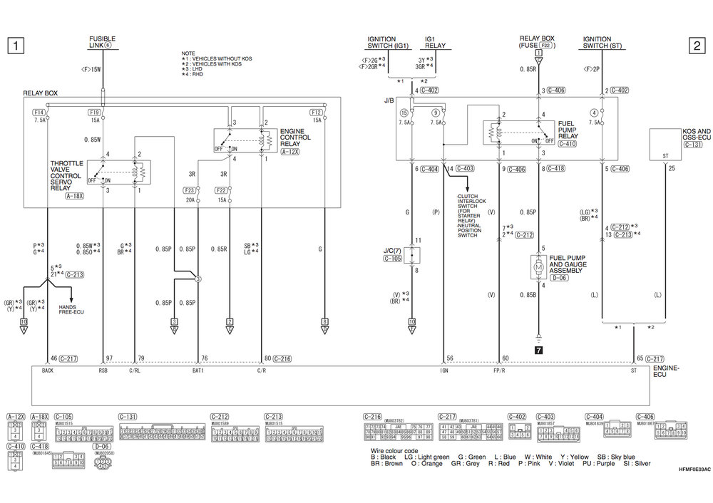 Mitsubishi Mirage 2 12 Petrol Circuit Diagrams Car Mechanics