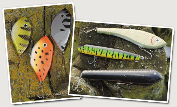 Here's examples of jerkbaits. On the left, we have the new breed of micro-jerks and on the right are the original jerkbaits that can weigh in excess of 8oz.