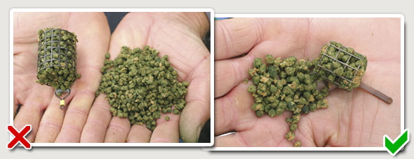 Summer pellet feeder (left) and winter pellet feeder (right)