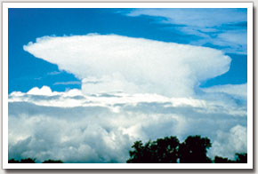 CUMULONIMBUS Towering, vertical, dark, anvil shaped at the top. Heavy showers, thunder, lightning and hailstones ahead.