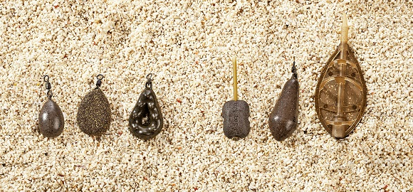 From left to right: pear lead, textured flat pear lead, gripper lead, inline lead, distance lead and Method feeder.