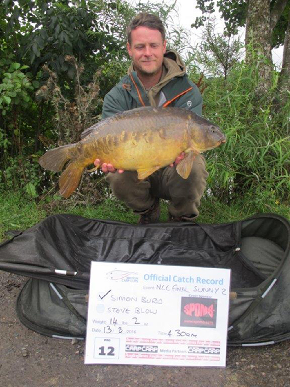 Simon Bury came second with 66lb 15oz.