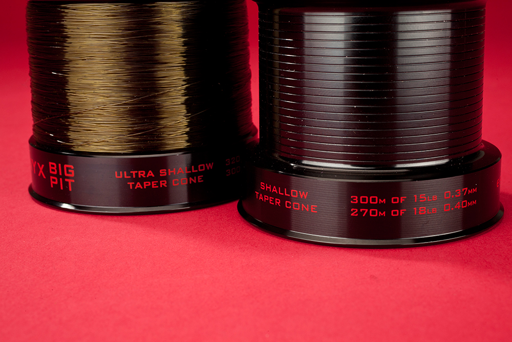The Ultra Shallow spool holds 300m of 12lb; the Shallow holds 300m of 15lb