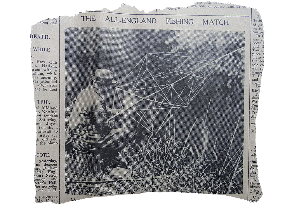 John Henry Hirst fishing the All England with his bizarre 'spider-web' rod.