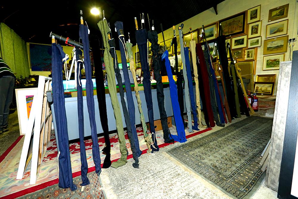 Rods belonging to Bob await auction bids.