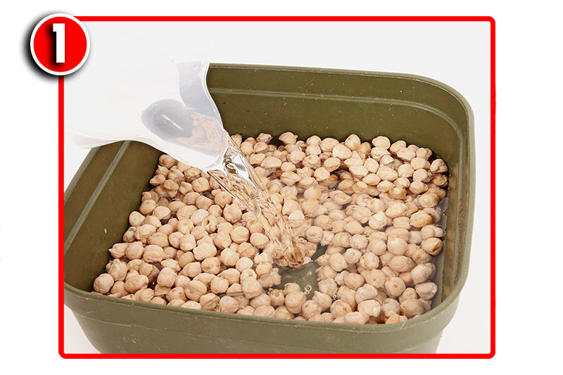 Cover a pint of dry chickpeas with two pints of water in a bait tub.