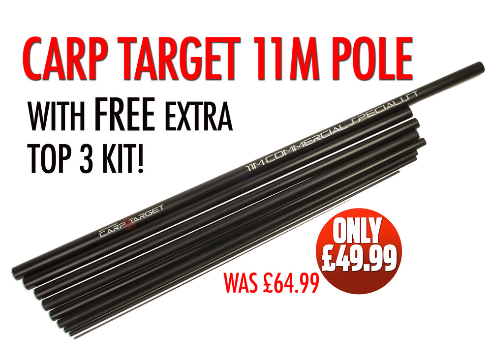 Carp target 11m pole with free extra top 3 kit video for Target fishing pole