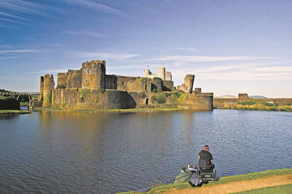 Anglers can cast to Caerphilly Castle's medieval foundations