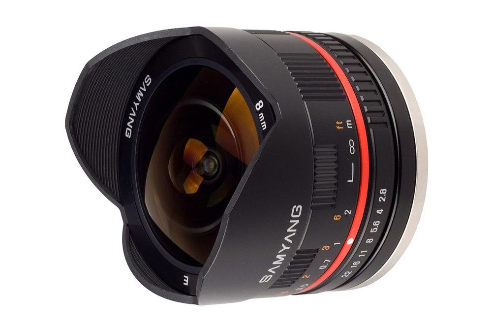 The Samyang 8mm f/2.8 UMC Fisheye II lens for mirrorless cameras