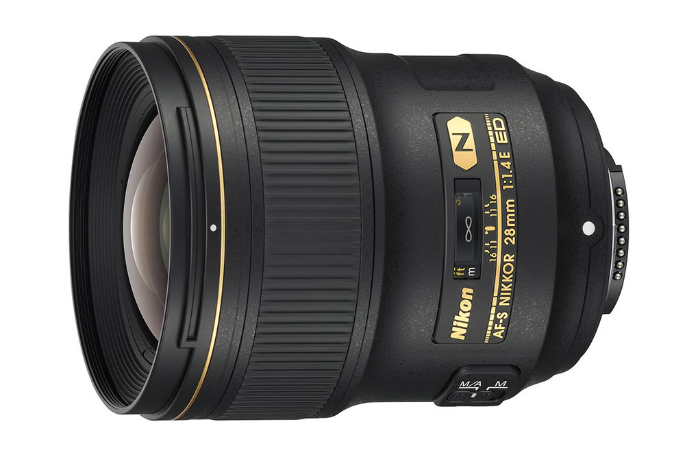 the wide-angle Nikon AF-S 28mm f/1.4E ED prime lens
