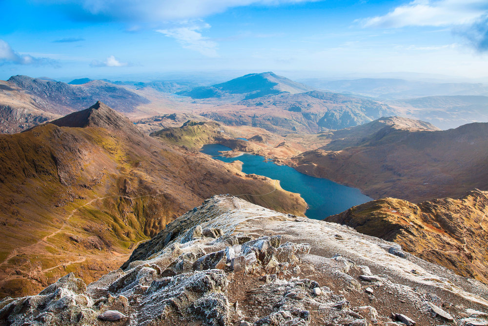 The awesome view east from the summit of Snowdon, Crib Goch to the left. Photo: Gail Johnson / Shutterstock