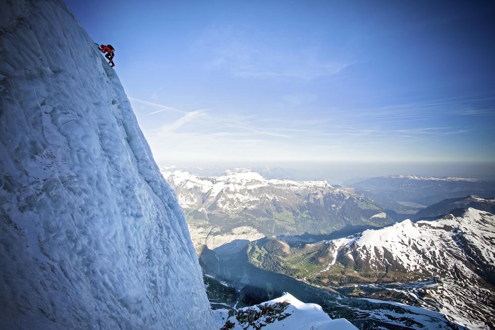 Ueli Steck on the Eiger. Photograph: Jon Griffith www.jonathangriffith.co.uk