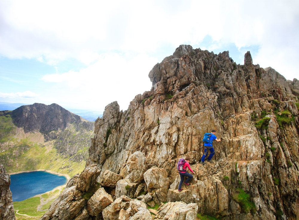 Crib Goch's committing ascent. Photo: Bob Atkins © Country Walking Magazine