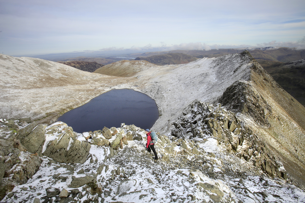 Red Tarn, beneath Striding Edge on Helvellyn. Photo: Tom Bailey © Trail Magazine