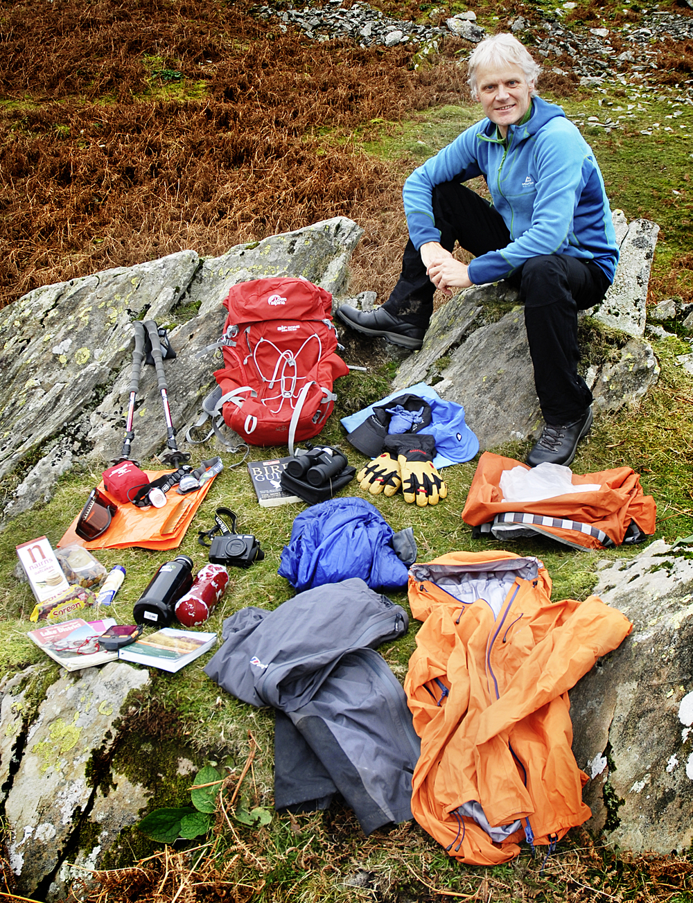 Graham Thompson, Trail Magazine's technical editor, displays the contents of his rucksack!  Photo : Graham Thompson / Trail Magazine