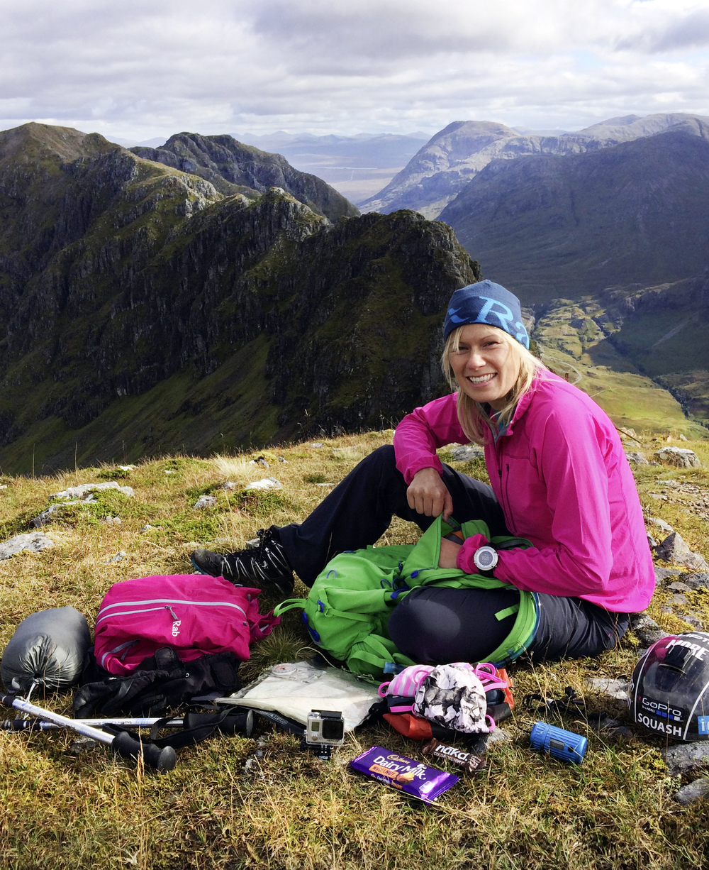 Squash Falconer, pictured on Glen Coe's Aonach Eagach Ridge, with the right stuff for the job!  Photo : Natalie Holmes