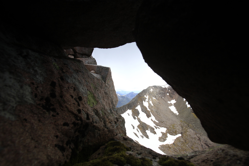A small cave on Carn Mor Dearg. Photo: Tom Bailey / Trail Magazine