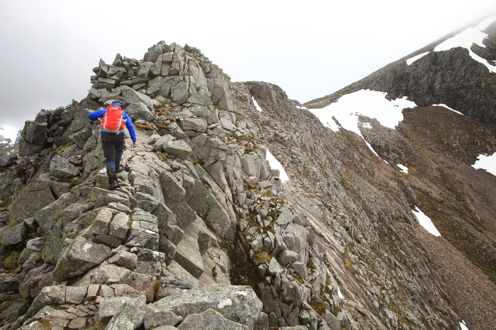 On the Carn Mor Dearg Arete. Photo: Tom Bailey / Trail Magazine
