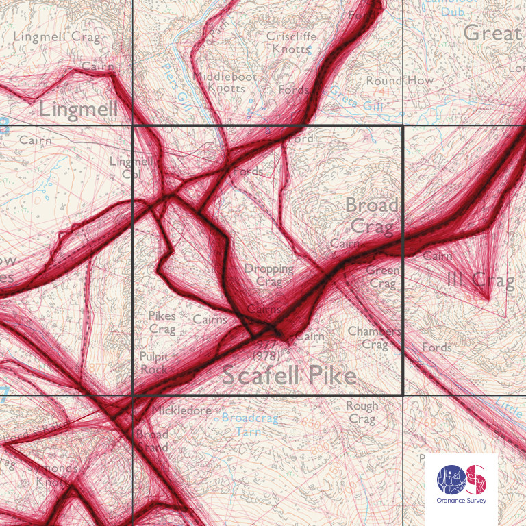The concentration of routes flowing over Scafell PIke reveal England's highest summit's popularity. Image: Ordnance Survey