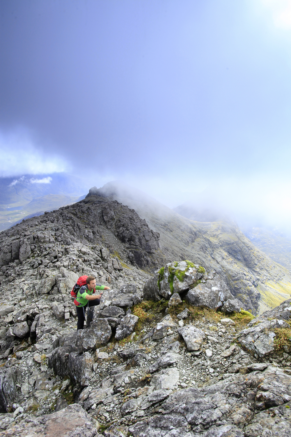 On the experience-testing final section of Sgurr Nan Gillean's summit ridge. Photo: Tom Bailey / Trail Magazine.