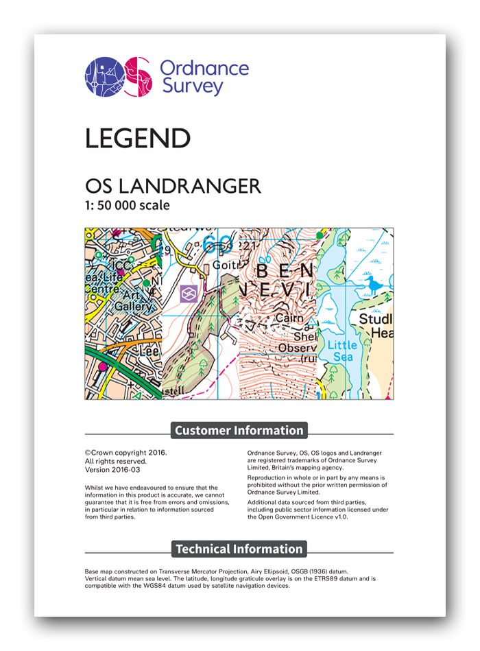OS Landranger (1:50,000) legend. Click to download.
