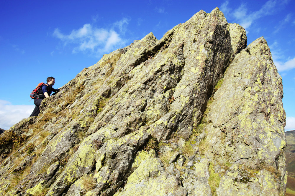 The final few feet of Helm Crag: the adrenaline kicks in where Alfred Wainwright kicked back. Photo: Tom Bailey / Trail Magazine