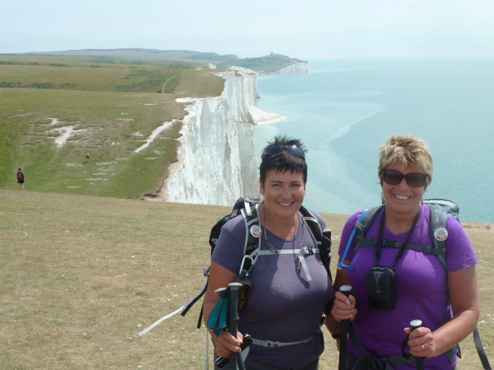 Becky Wells: 'The South Downs Way completed today with Sally Oakley Qajar'