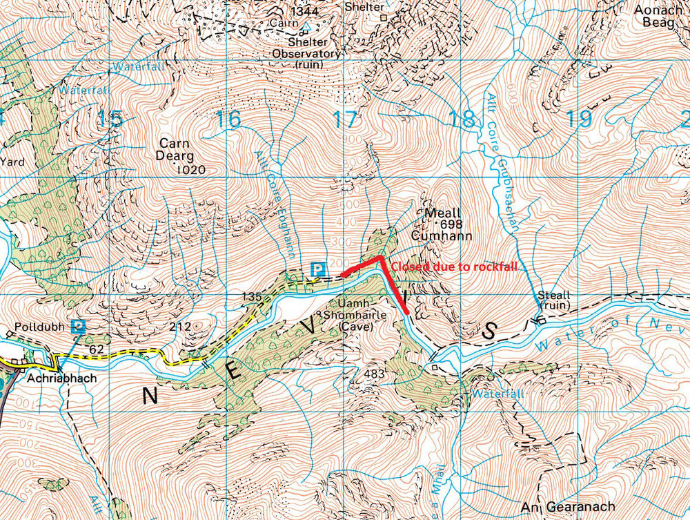 To access the mountains or paths beyond Steall, you can ascend to the bealach north of Meall Cumhann at GR NN178700, drop down into Coire Guibhsachan and descend to Steall Ruin at GR NN188688. Please note that there is no path and this route should only be used by experienced hillwalkers with map and compass.