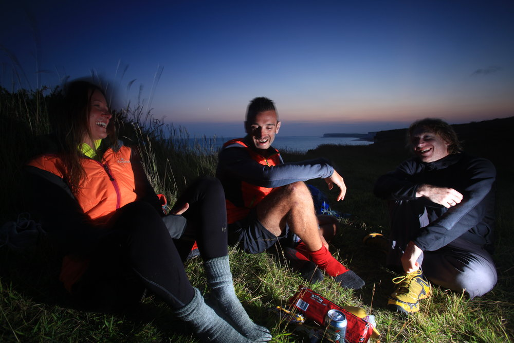 Just an everyday adventure... and just for that, extraordinary. On the South Downs with microadventurer extraordinaire Alastair Humphreys, (far right.) Photo: Tom Bailey / Trail Magazine