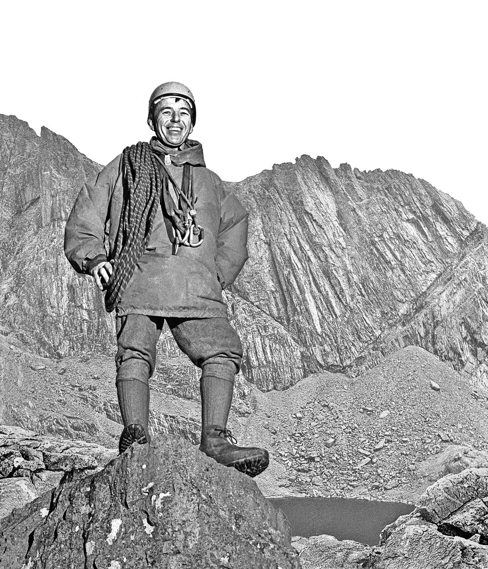 Brown, with 'Cloggy' - Snowdon's Clogwyn D'ur Arrdu – beyond. Photo: John Cleare