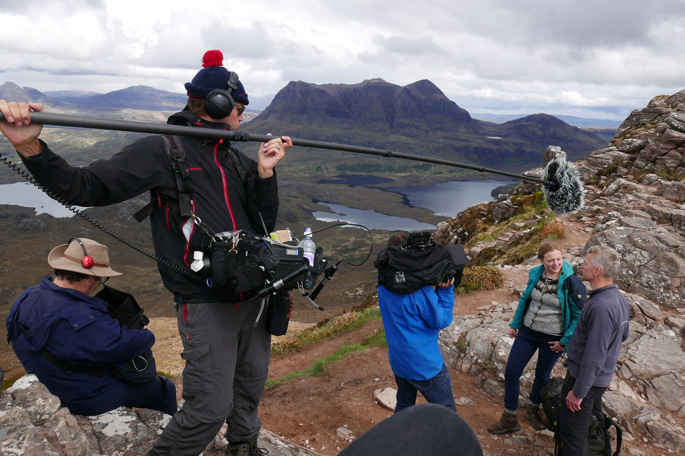 Filming on Stac Pollaidh in the Assynt, in search of Britain's only space impact.