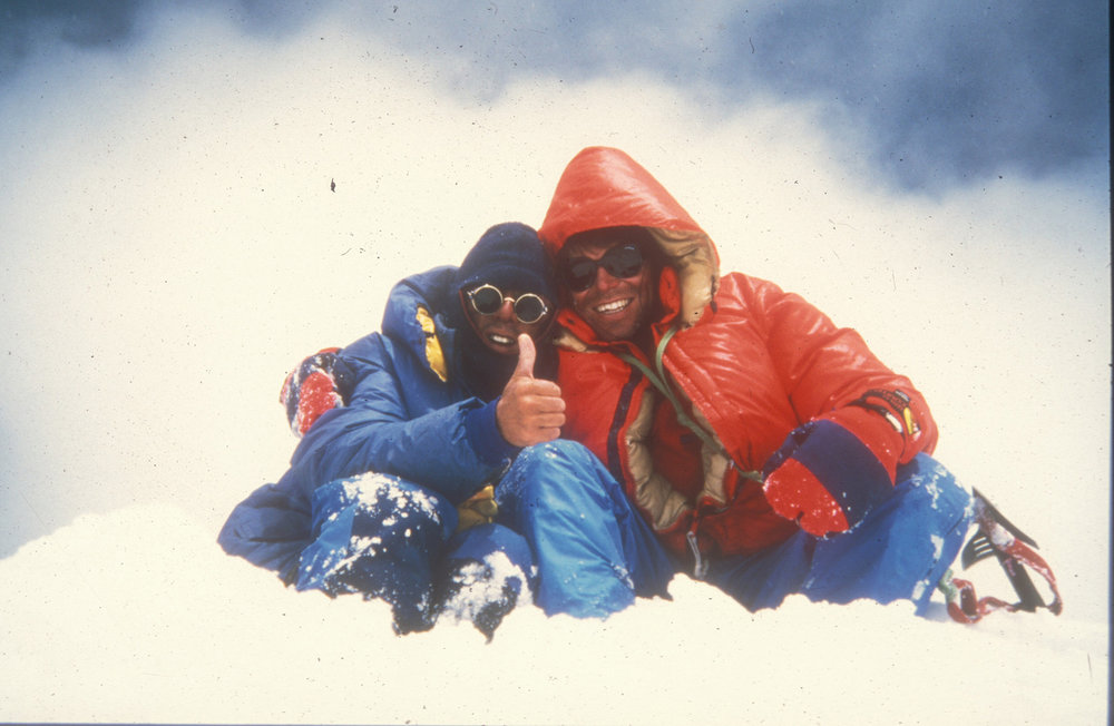 Vic Saunders and Mick Fowler on the summit of Spantik in 1987